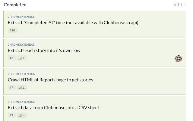 CSV export for Clubhouse.io Reports