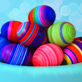 Easter Eggs With Stripe Rings by Robin Amaral - Public Holidays Easter ( easter eggs, eggs, striped, dye, rings, festive, bokeh, focus, easter, decoration, dyed eggs )
