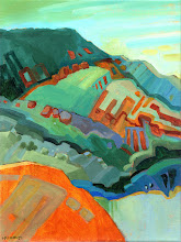 "Photo: ""Diablo from Round Top"", acrylic on linen 16"" x 12"", © Nancy Roberts"