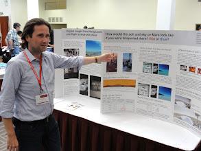 Photo: Holger Isenberg showing Viking Lander color images with calibration based on recently rediscovered digital science test phase images from the Viking cameras taken on Earth.
