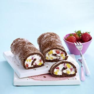 Mango and Strawberry Swiss Roll.