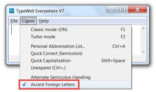 Accent foreign letters in the Everywhere abbreviation menu