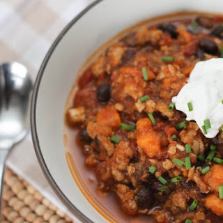 Slow Cooker Turkey Chili with Sweet Potato and Black Beans.