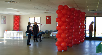 Photo: Humane Society of West Michigan's Home for the Holidays event with Author Jim Gorant (The Lost Dogs) Columns acted as a wall the next day for the adoption event
