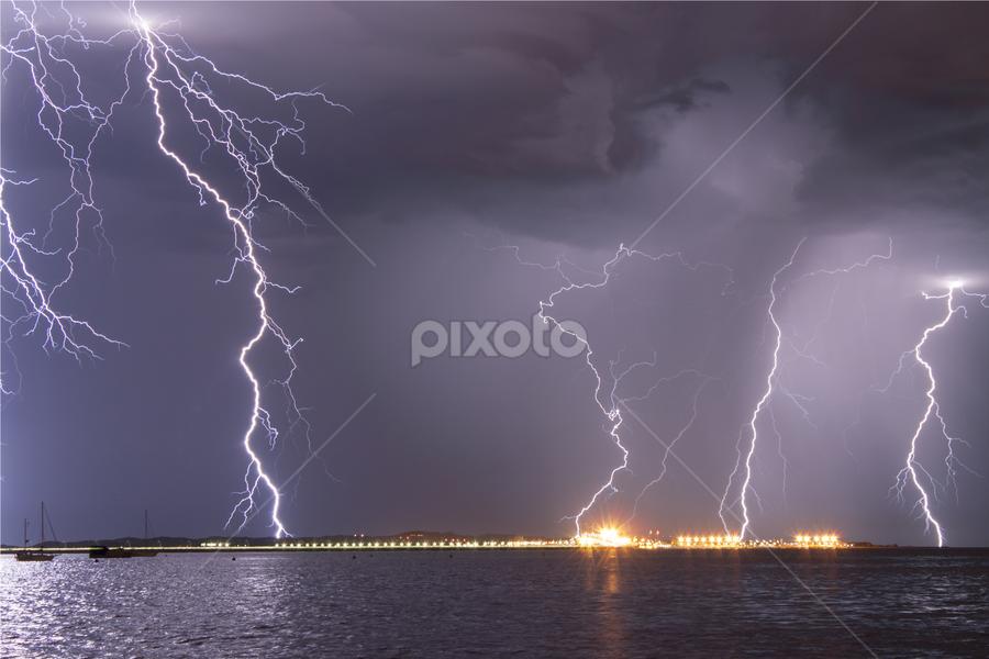 Garden Island Sparks by Steve Brooks - Landscapes Weather ( lights, clouds, lightning, perth, australia, rockingham, storms, spark, western australia,  )