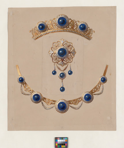 Parure of diadem, brooch and necklace with lapis lazuli and enamel