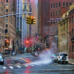 Red means stop! by Axel K. Böttcher - City,  Street & Park  Neighborhoods ( red lights, battery park, manhattan, cheerless )