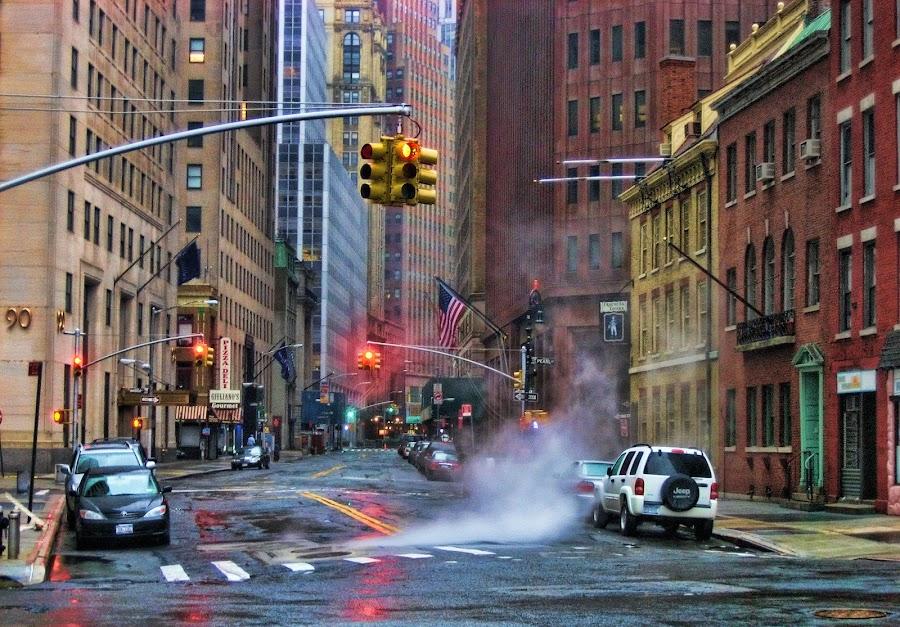 Red means stop! by Axel K. Böttcher - City,  Street & Park  Neighborhoods ( red lights, battery park, manhattan, cheerless )