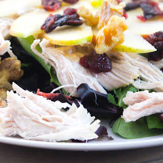 Autumn Salad with Apples, Cranberries, Walnuts and Leftover Turkey.