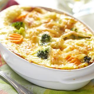 Cheesy Broccoli with Cauliflower Gratin.