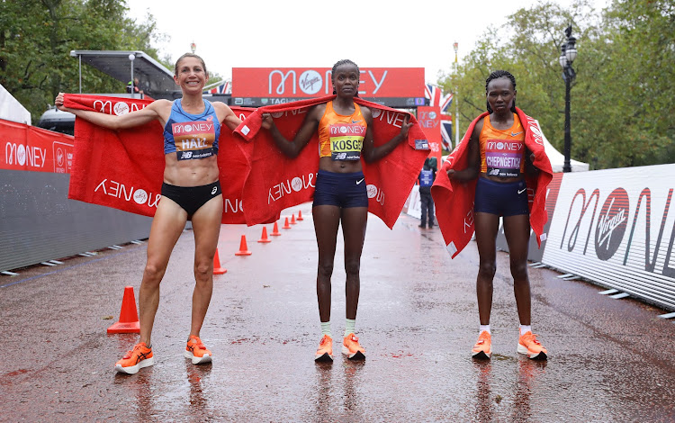 The top three finishers at the 2020 London Marathon.