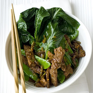 Ginger Garlic Beef With Sesame Greens.