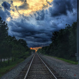 Tonight's sunset by Tracy Bumann - Transportation Railway Tracks