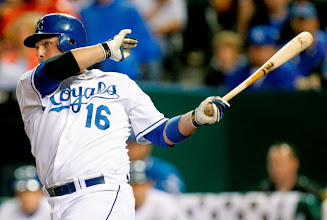 Photo: Kansas City Royals' Billy Butler drives the ball into left for a two-run double during a baseball game against the Toronto Blue Jays in the third inning Wednesday, April 29, 2009, in Kansas City, Mo. Coco Crisp and Willie Bloomquist scored on the double. (AP Photo/Ed Zurga)