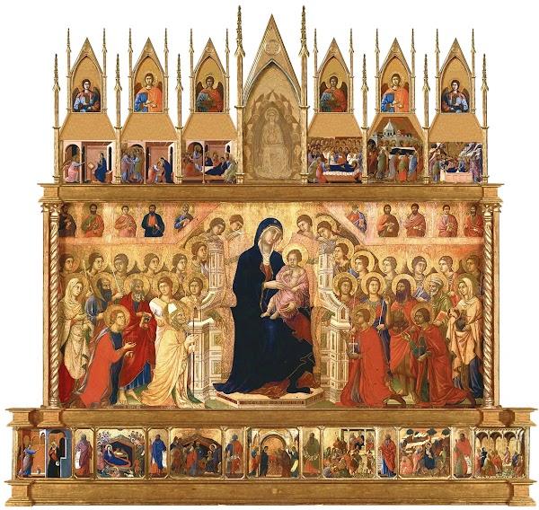 Duccio di Boninsegna, Maestà del Duomo di Siena (1308-1311), ricostruzione virtuale del lato anteriore della Maestà