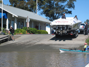 Photo: A huge and really really load power boat launching with us. They cranked up the engine and about blew us off the water.
