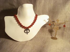 Photo: <BEREHYNYA> {Great Goddess Protectress} unique one-of-a-kind statement jewellery by Luba Bilash ART & ADORNMENT  Brass antique pendant, carnelian, 14K gold vermeil NFS