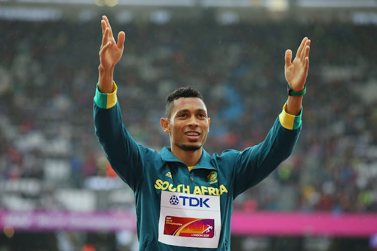 Wayde van Niekerk receives his gold medal during at the 16th IAAF World Athletics Championships 2017 in London, England. Picture: GALLO IMAGES