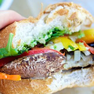 Clean Eating Portobello Burgers With Pea Pesto [Vegan, Gluten-Free].