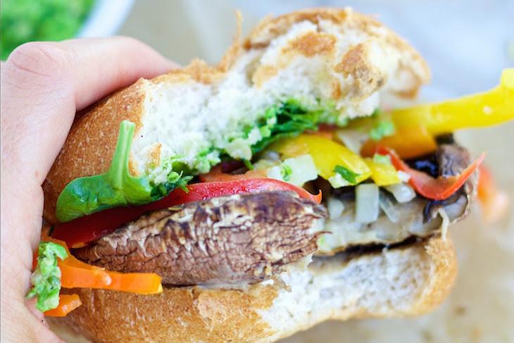 Clean Eating Portobello Burgers with Pea Pesto [Vegan, Gluten-Free] Recipe