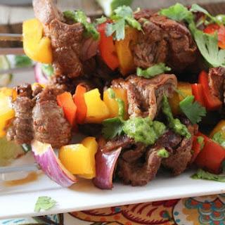 Beef Fajita Kabobs with Poblano Cilantro Pesto