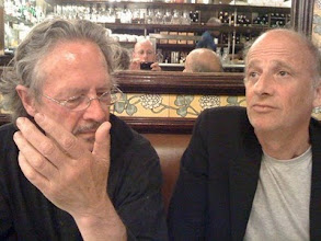 Photo: Peter Handke, the director Bondy  and the photographer of his snap, Malte Herwig in the mirror at Brasserie Lip
