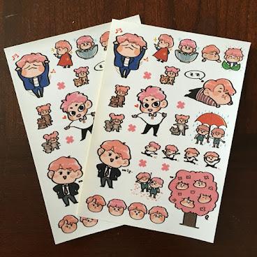EXO粉毛line貼紙