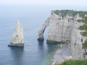 Photo: Again, the Needle and nearby Aval Arch, which has been compared to an elephant dipping its trunk into the ocean.