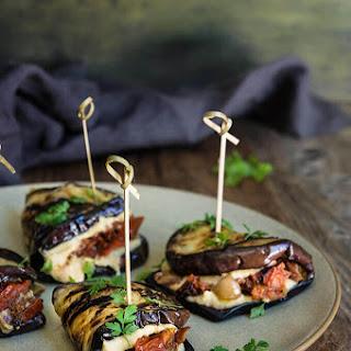 Eggplant Hummus Wraps With Smoky Tomato Confit.