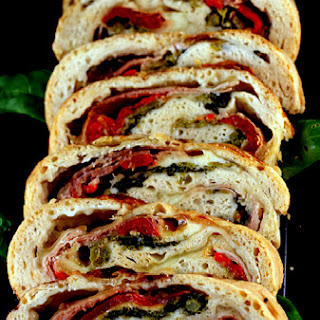 Three Cheese Prosciutto, Roasted Red Pepper, and Broccoli Rabe Stromboli