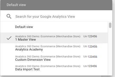 Example Google Analytics view list