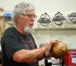Photo: Ed showing details of texturing and carving.