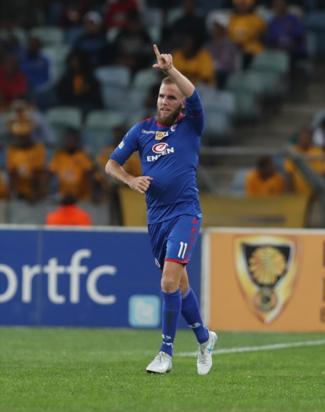 Jeremy Brockie of SuperSport United during the MTN 8 Quarter Final between Kaizer Chiefs and SuperSport United at Moses Mabhida Stadium on August 12, 2017 in Durban.