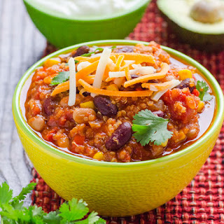 Quinoa Chili with Slow Cooker Option.