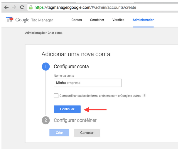 Google Tag Manager : Adicionar nova conta