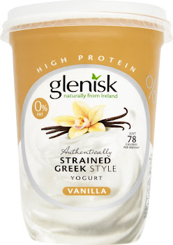 Glenisk 0% Fat Authentically Strained Greek Style Yogurt - Vanilla, 450g