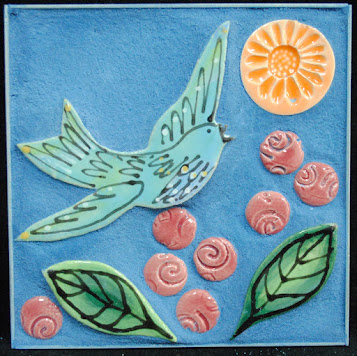 Bluebird In A Flower Garden Mini Mosaic by Brenda Pokorny