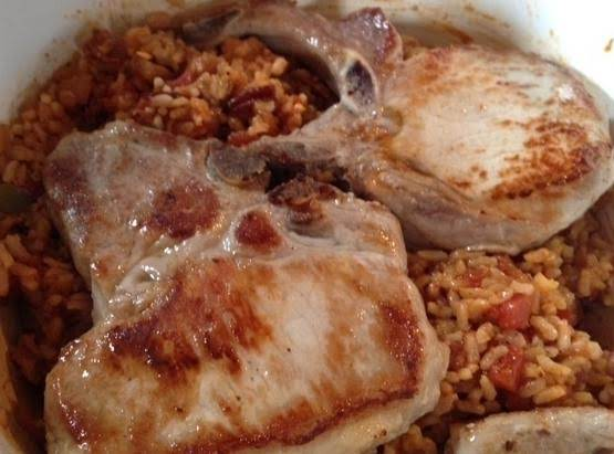 Mom's Spanish Rice And Pork Chops Recipe