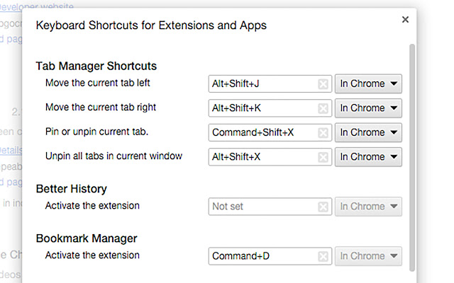 Tab Manager Shortcuts