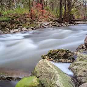 Autumn Stream by Ralph Sobanski - City,  Street & Park  City Parks ( #autumn #fall #long exposure #park #river #rocks #stream #trees #tripod #water )