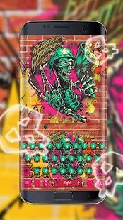 Doodle colorful skull keyboard - náhled