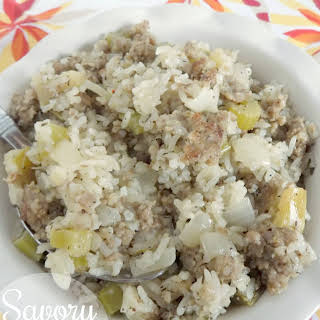 Savory Sausage and Apple Rice Casserole.
