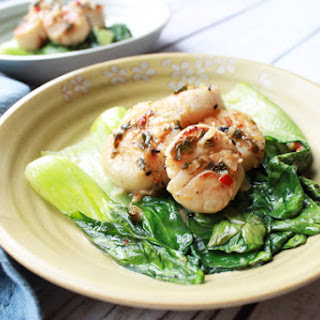 Seared Chili Scallops with Baby Bok Choy.
