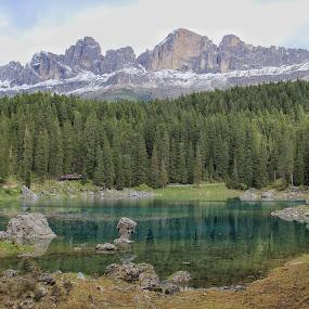 Lake Karer and the Rosengarten Group  by Konstanze Singenberger - Landscapes Mountains & Hills ( berg, mountain, see, lake, dolomites )