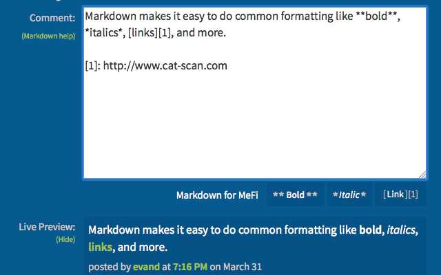 Markdown for MeFi
