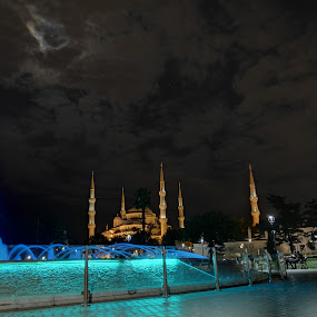 Hagia Sophia at night by Monique Marx - Instagram & Mobile Android ( water, clouds, moon, nofilter, hagia sophia, blue, nightshot, fountain, istanbul, turkey, architecture )