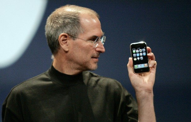 Steve Jobs with the first iPhone. Picture: REUTERS