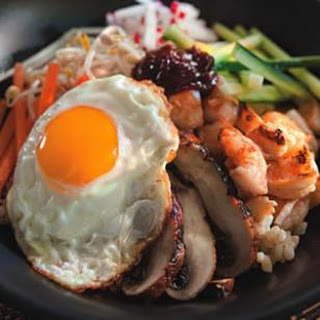 Bibimbap with Grilled Shrimp & Mushrooms