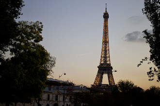 Photo: The Eiffel Tower just beginning to light up.
