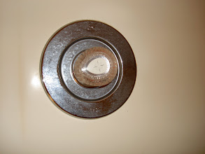 Photo: The shower control knob and base plate has soap scum and water marks...ewww!